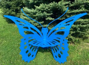 Blue butterfly bench - Large