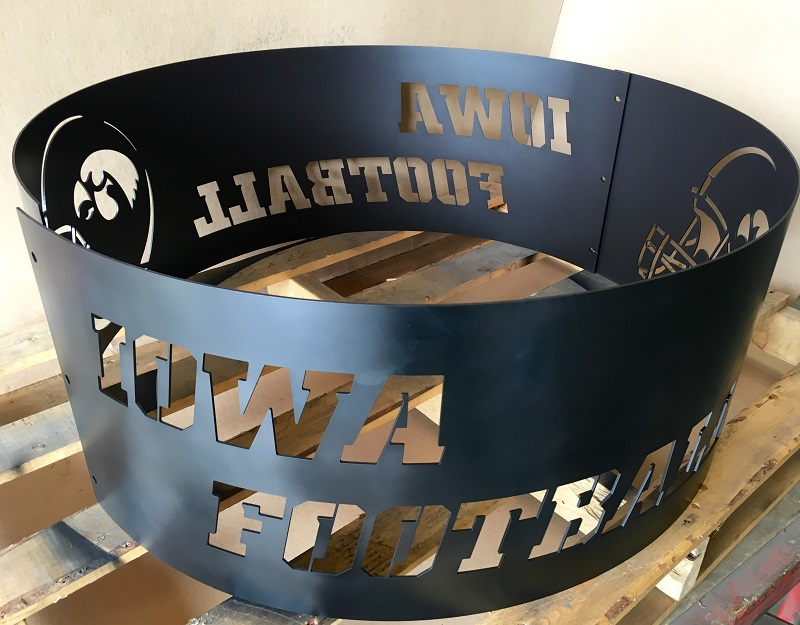 Iowa Hawkeye football fire pit ring