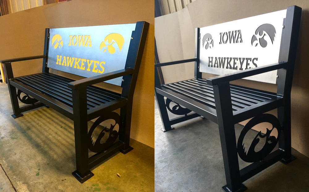Heavy duty Iowa Hawkeye Bench