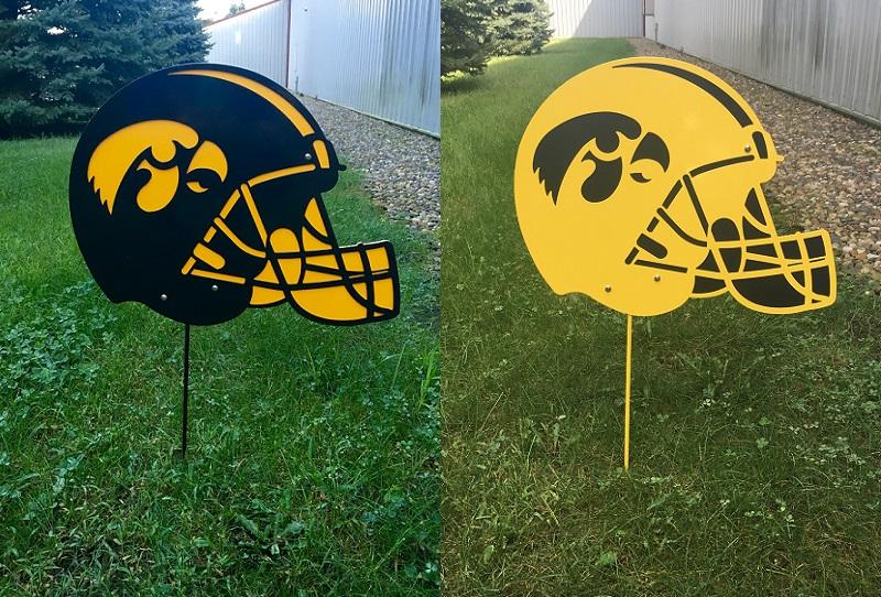 Hawkeye Helmet yard stake