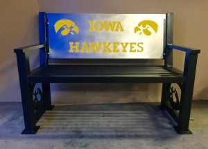 Iowa Hawkeye heavy duty bench, gold accent